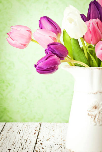 Easter Tulips And Copy Space Art Print