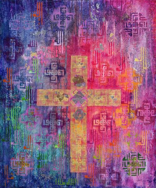 Wall Art - Photograph - Eastern Cross, 2000 Acrylic & Gold Leaf On Canvas by Laila Shawa