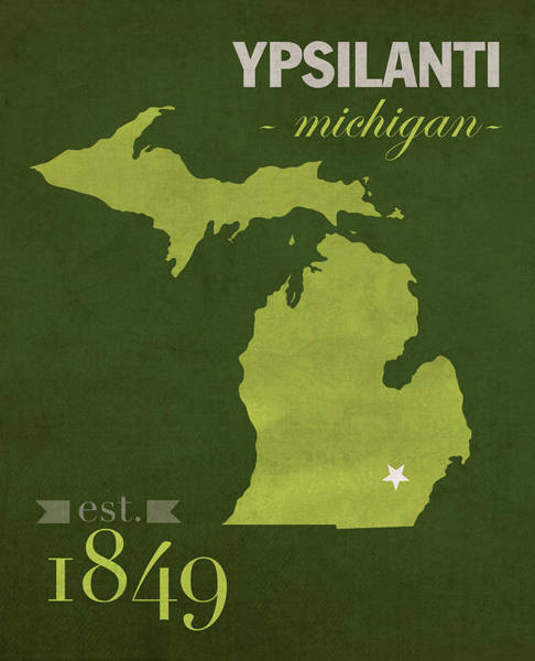 Mac Mixed Media - Eastern Michigan University Eagles Ypsilanti College Town State Map Poster Series No 035 by Design Turnpike