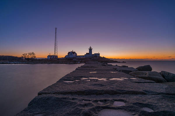 Photograph - Eastern Point Lighthouse Just Before Sunrise Gloucester Ma by Bryan Xavier