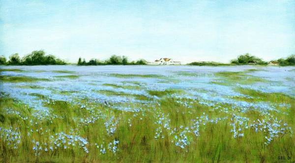 Painting - Eastern Shore Maryland Field Of Blue Flowers by G Linsenmayer