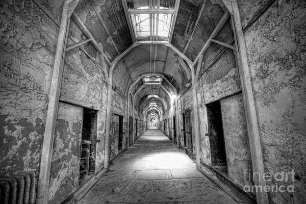 Nikon D800 Wall Art - Photograph - Eastern State Penitentiary Hallway Bw by Michael Ver Sprill