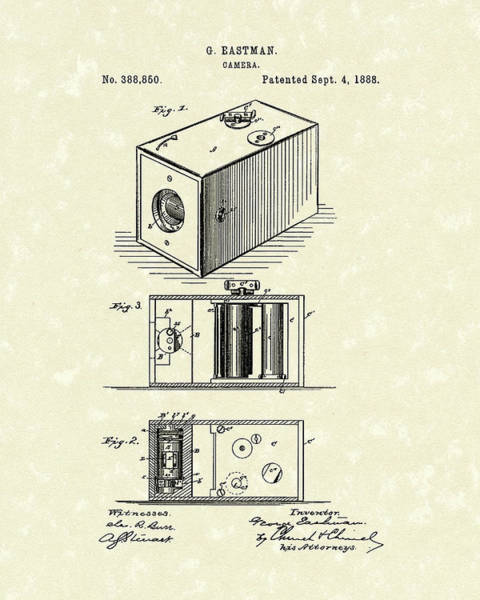 Drawing - Eastman Camera 1889 Patent Art by Prior Art Design