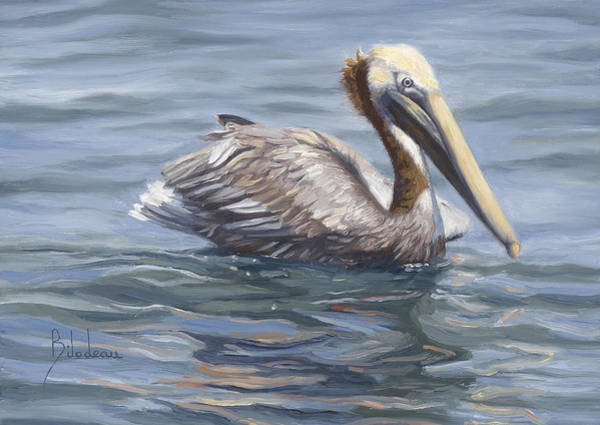 Brown Pelicans Wall Art - Painting - Easy Morning by Lucie Bilodeau
