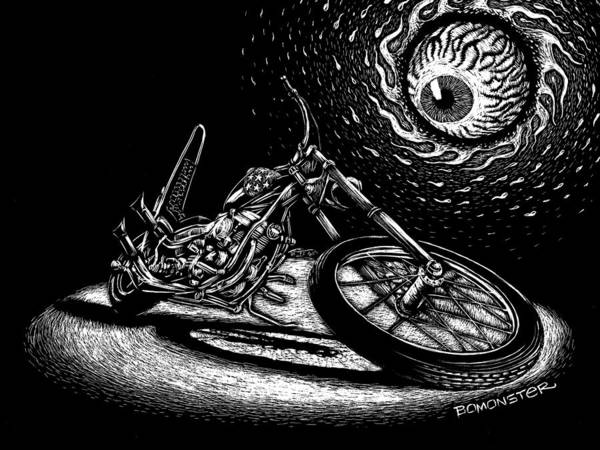 Wall Art - Drawing - Easy Rider by Bomonster
