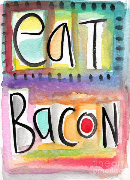 Pig Painting - Eat Bacon by Linda Woods