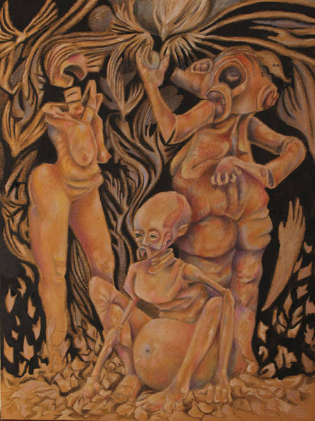 Surrealist Drawing - Eat Of The Apple Too Soon  by Michael Sienerth