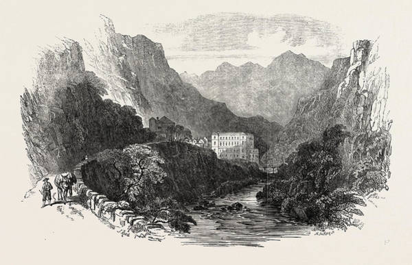 1854 Drawing - Eaux Chaudes Pyrenees 1854 by English School