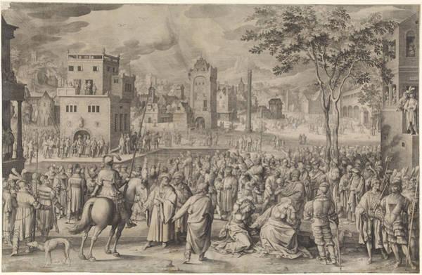 Pontius Pilate Wall Art - Drawing - Ecce Homo, Nicolaes De Bruyn by Nicolaes De Bruyn
