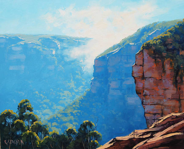 Wall Art - Painting - Echo Point Katoomba by Graham Gercken