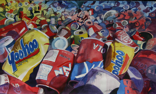 Recycling Painting - Eco 4 by Cathy Ehrler