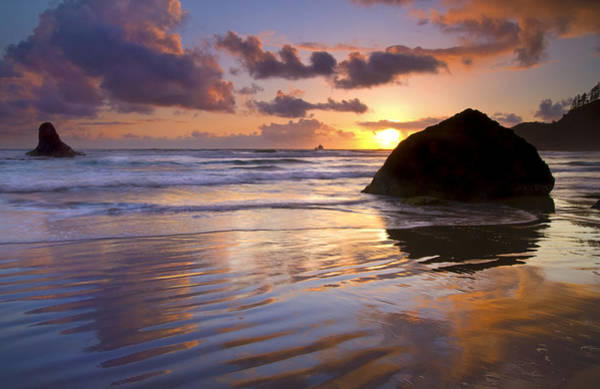 Wet Sand Photograph - Ecola Sunset by Mike  Dawson
