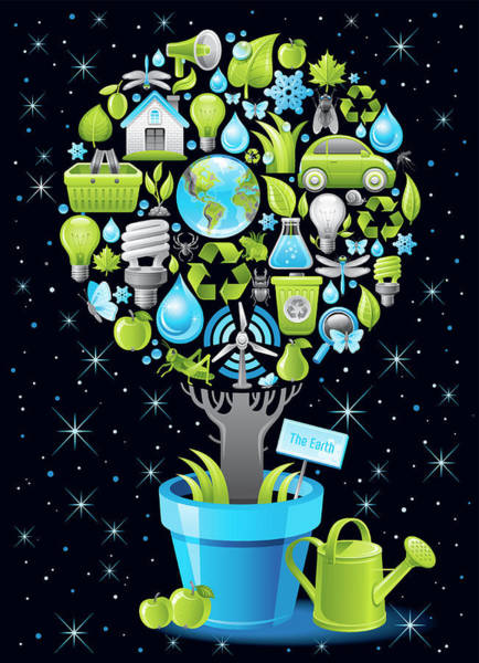 Lifestyles Digital Art - Ecological Poster With Tree In by O-che
