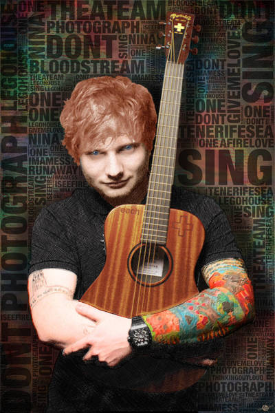Painting - Ed Sheeran And Song Titles by Tony Rubino
