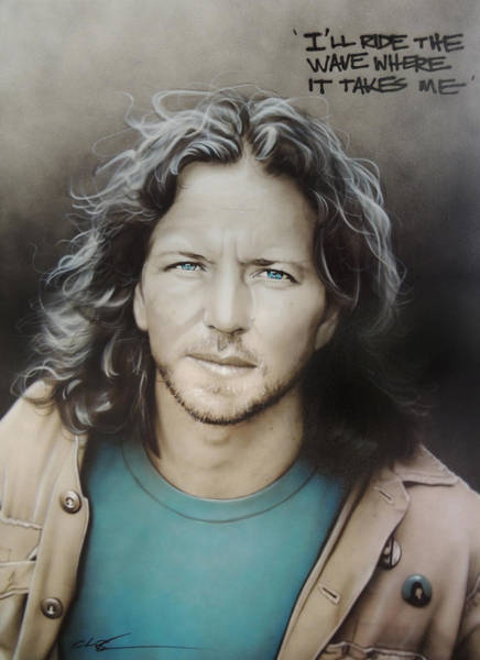 Blue Hair Wall Art - Painting - Eddie Vedder by Christian Chapman Art