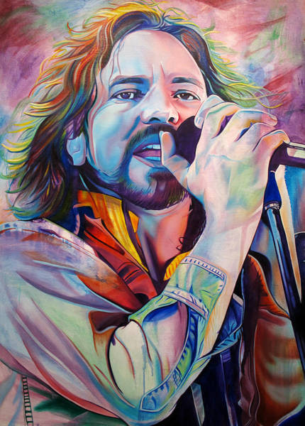 Grunge Music Wall Art - Painting - Eddie Vedder In Pink And Blue by Joshua Morton
