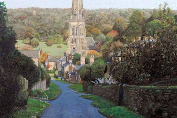 English Countryside Photograph - Edensor, Chatsworth Prak, Derbyshire, 2009 Oil On Canvas by Trevor Neal