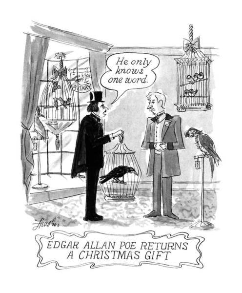 Pet Shop Drawing - Edgar Allan Poe Returns A Christmas Gift by Edward Frascino