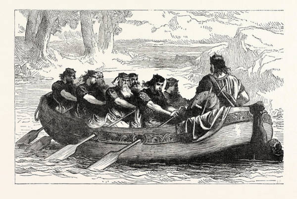Wall Art - Drawing - Edgar The Peaceable Being Rowed Down The Dee By Eight by English School