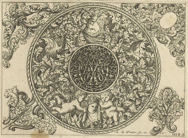 Wall Art - Drawing - Edge Of Circular Plate With Leaf Tendrils by Anthonie De Winter And C. De Moelder