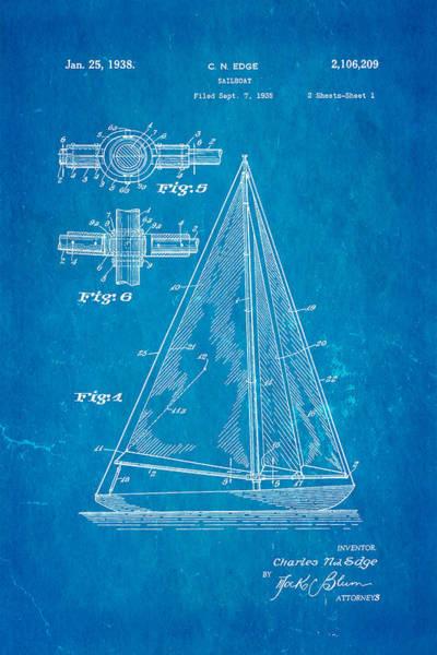 Seamen Photograph - Edge Sailboat Patent Art 1938 Blueprint by Ian Monk