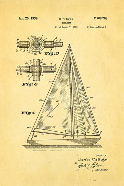 Seamen Photograph - Edge Sailboat Patent Art 1938 by Ian Monk