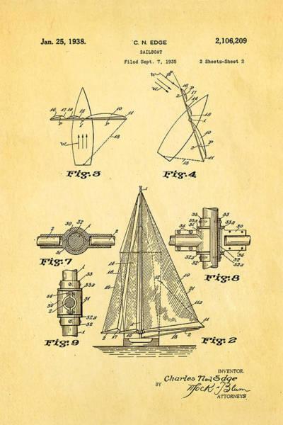 Monk Photograph - Edge Sailboat Patent Art 2 1938 by Ian Monk