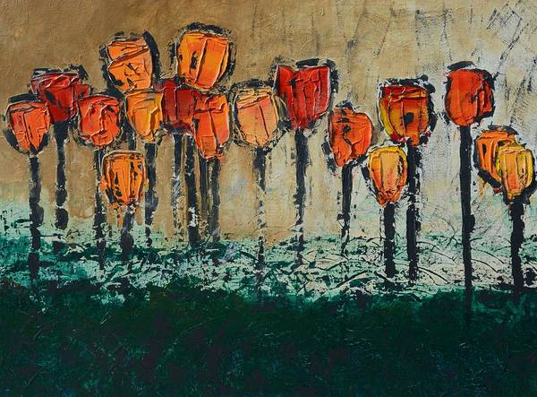 Edgey Tulips Art Print