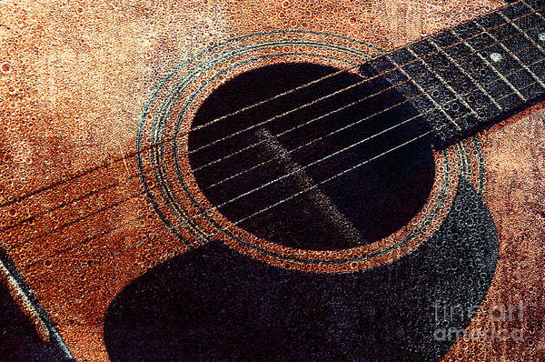 Photograph - Edgy Guitar Orange 2  by Andee Design