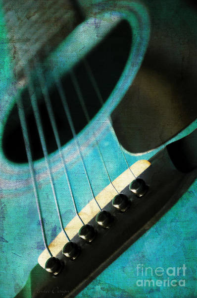 Photograph - Edgy Teal Guitar by Andee Design