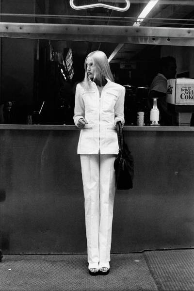 Berry Photograph - Edie Baskin Wearing A Pantsuit by Berry Berenson