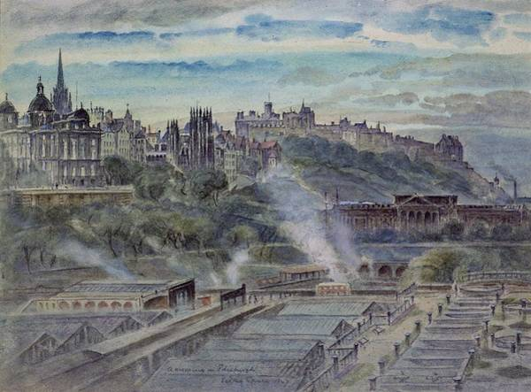 Wall Art - Photograph - Edinburgh From Near St. Anthonys Chapel On The North-west Shoulder Of Arthurs Seat, 19th Century by John Gendall