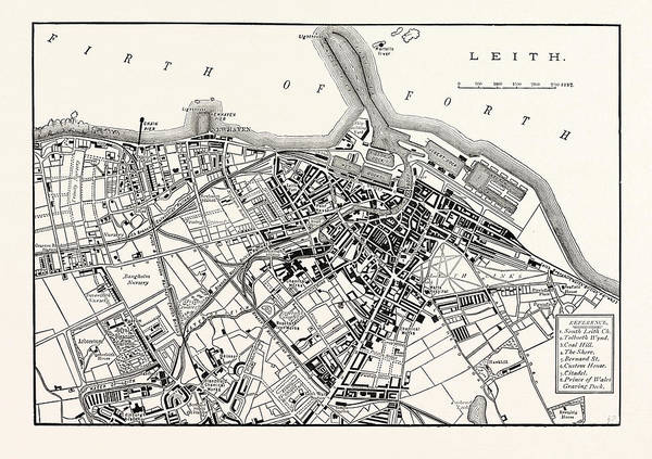 Wall Art - Drawing - Edinburgh Plan Of Leith 1883 by English School
