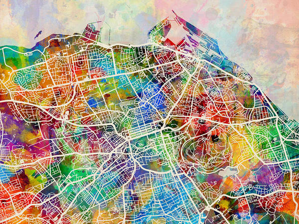 Wall Art - Digital Art - Edinburgh Street Map by Michael Tompsett