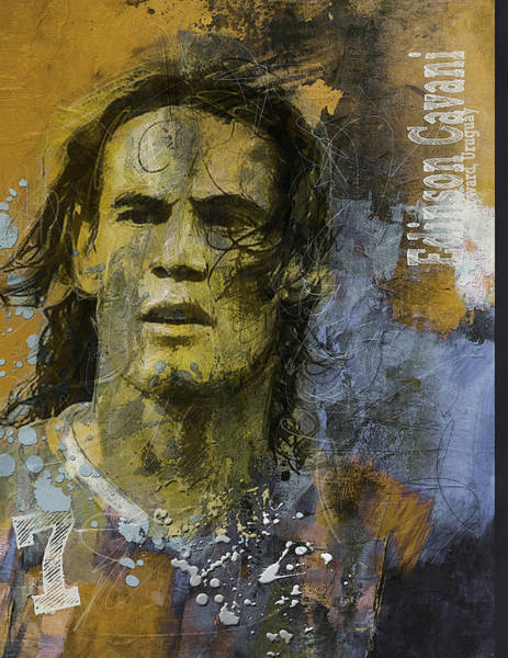 Premier League Wall Art - Painting - Edinson Cavani - B by Corporate Art Task Force