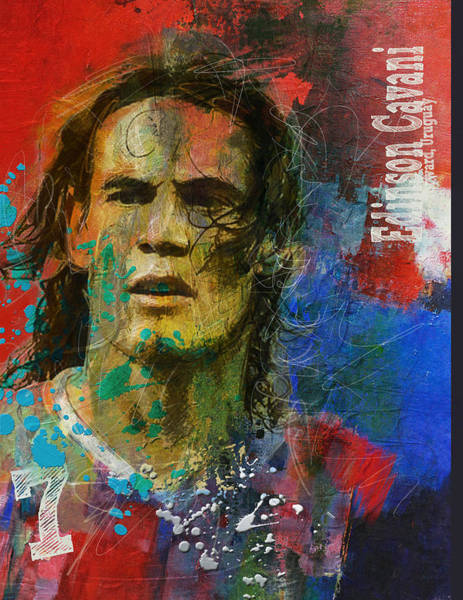 Premier League Wall Art - Painting - Edinson Cavani by Corporate Art Task Force