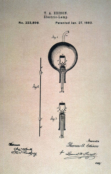 Photograph - Edison Electric Lamp, 1880 by Granger