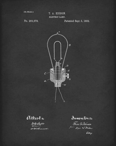 Drawing - Edison Electric Lamp 1882 Patent Art Black by Prior Art Design