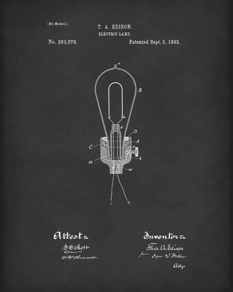 Bulb Drawing - Edison Electric Lamp 1882 Patent Art Black by Prior Art Design