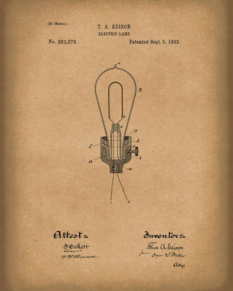 Drawing - Edison Electric Lamp 1882 Patent Art Brown by Prior Art Design