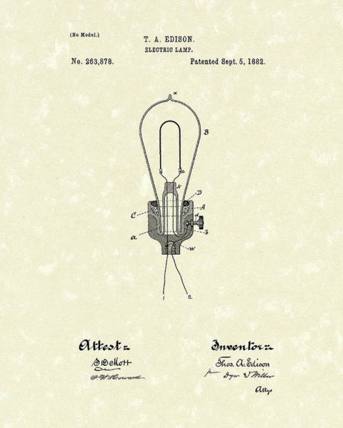 Drawing - Edison Electric Lamp 1882 Patent Art by Prior Art Design