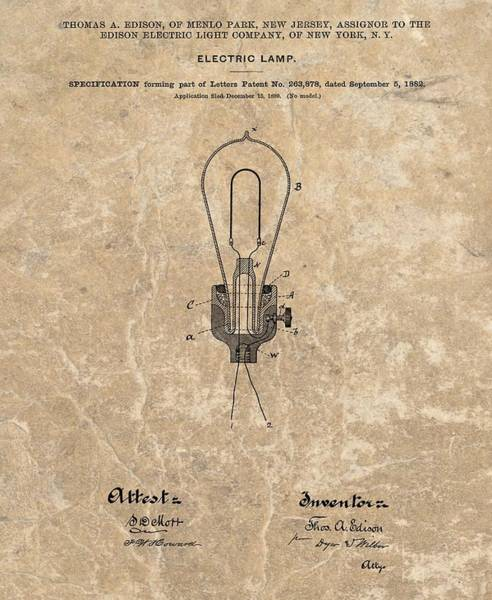 Wall Art - Mixed Media - Edison Electric Lamp Patent Marble by Dan Sproul
