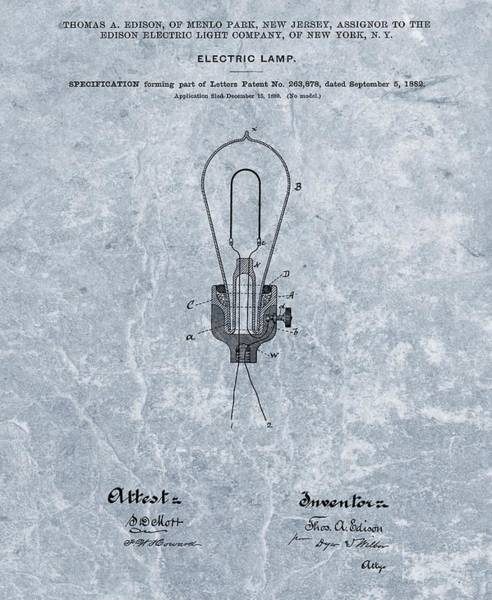 Wire Mixed Media - Edison Electric Lamp Patent Orginal File by Dan Sproul
