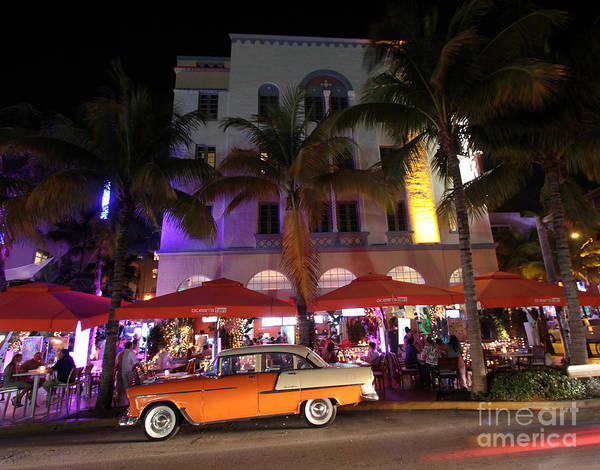 Photograph - Edison Hotel South Beach At Night 1 by Steven Spak