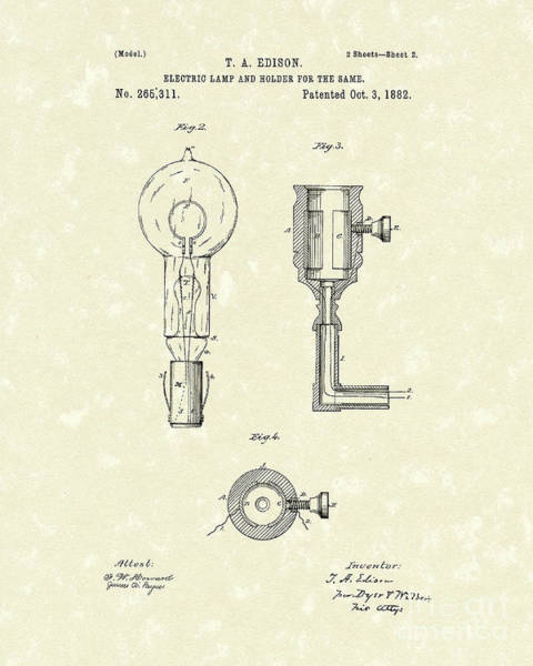 Drawing - Edison Lamp 1882 Patent Art by Prior Art Design