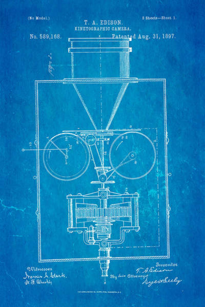 Fitter Photograph - Edison Motion Picture Camera Patent Art 1897 Blueprint by Ian Monk