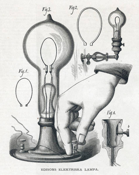 Bulb Drawing - Edison's Electric Lamp by Mary Evans Picture Library