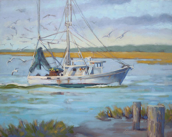 Seagull Painting - Edisto Shrimp Boat by Todd Baxter