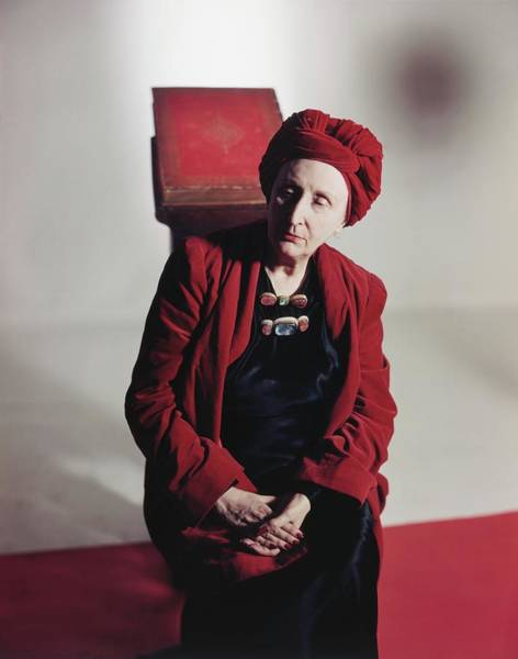 Poet Photograph - Edith Sitwell Wearing A Turban by Horst P. Horst