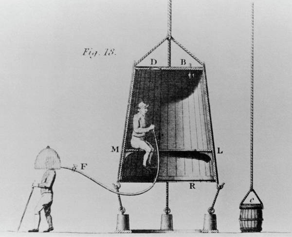 Diving Bell Photograph - Edmond Halley's Diving Bell Of 1716 by Science Photo Library